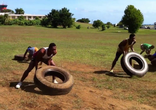 Fijian Rugby Players Training