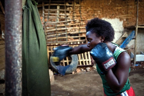 Boxing training in Uganda