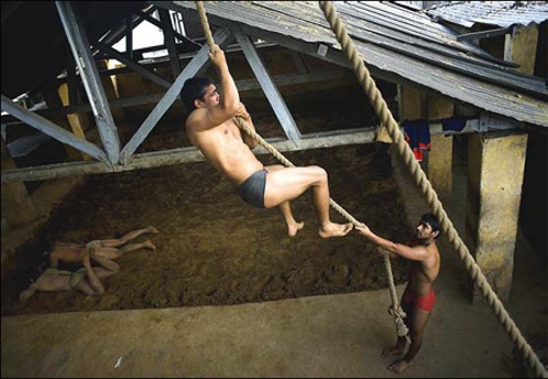 Wrestling training in India