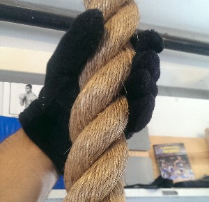 Rope pull-ups with gloves