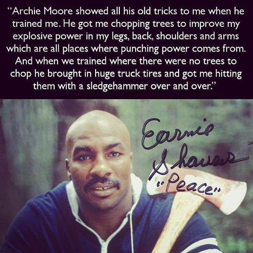 Earnie Shavers Sledgehammer Training