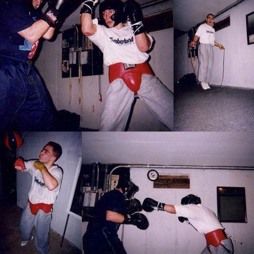 Boxing training at an old school gym